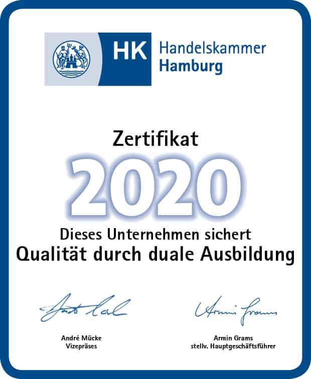 Ausbildungszertifikat 2020