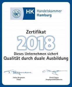 Ausbildungszertifikat 2018